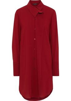 Oscar De La Renta Woman Crepe Mini Shirt Dress Brick