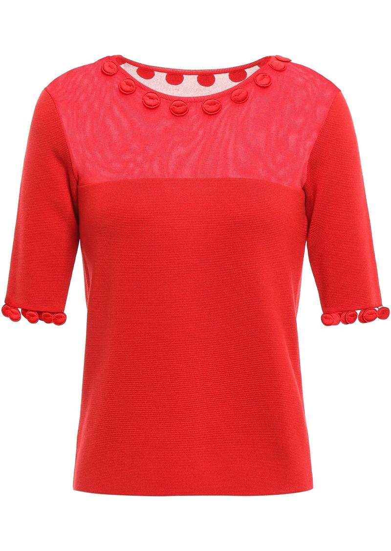 Oscar De La Renta Woman Crochet-trimmed Burnout-effect Wool-blend Top Red
