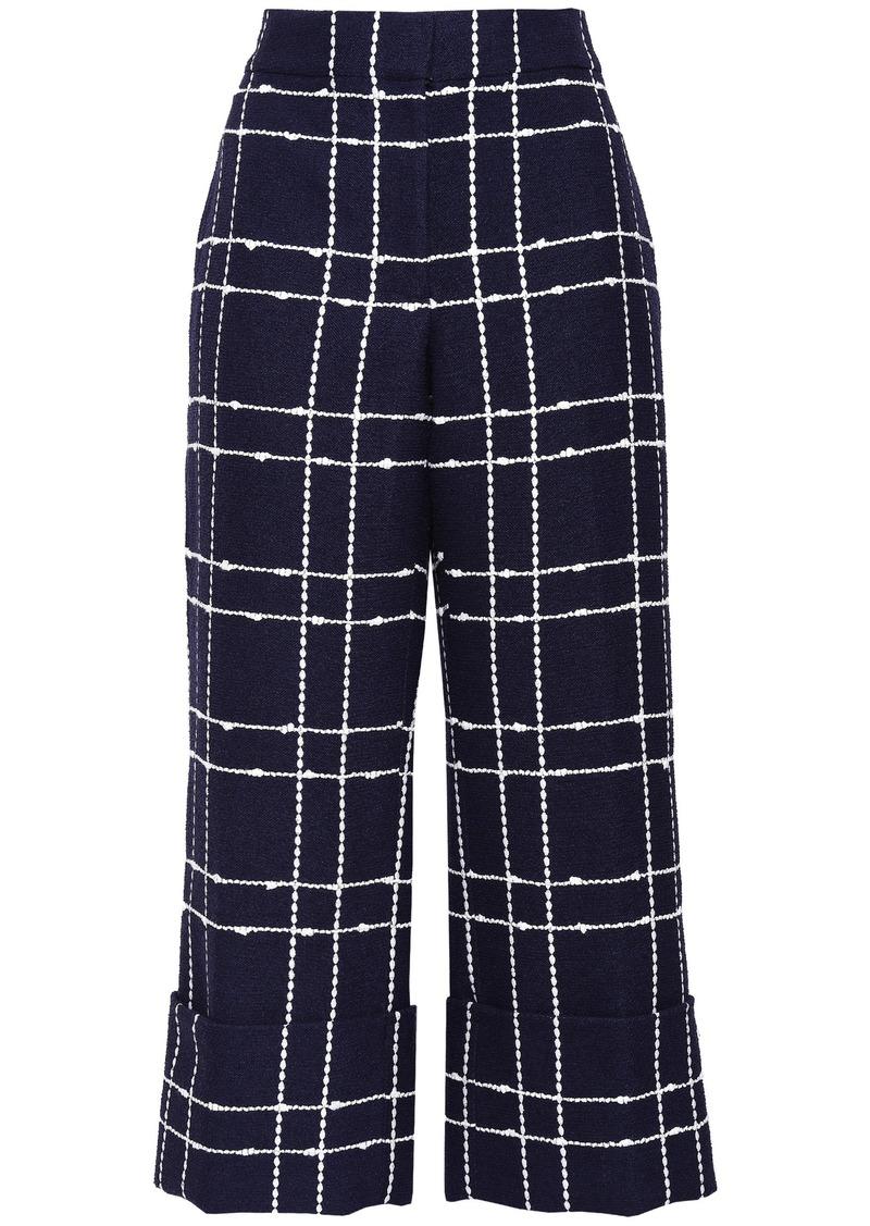 Oscar De La Renta Woman Cropped Cotton-blend Jacquard Wide-leg Pants Navy