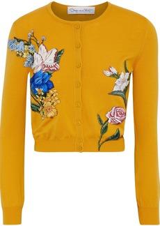 Oscar De La Renta Woman Cropped Embroidered Wool Cardigan Mustard