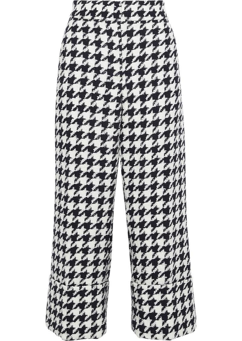 Oscar De La Renta Woman Cropped Houndstooth Wool-blend Jacquard Straight-leg Pants Navy