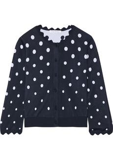Oscar De La Renta Woman Cropped Scalloped Jacquard-knit Cardigan Midnight Blue