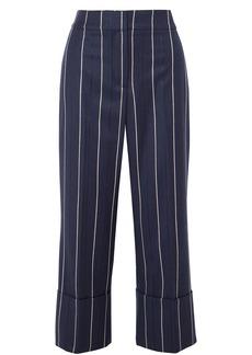 Oscar De La Renta Woman Cropped Striped Wool-blend Wide-leg Pants Navy