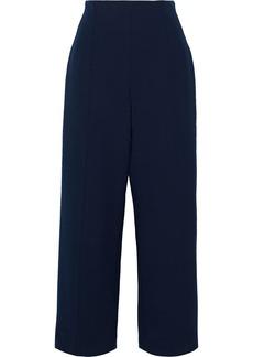 Oscar De La Renta Woman Cropped Wool-blend Crepe Wide-leg Pants Midnight Blue