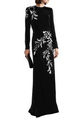 Oscar De La Renta Woman Crystal-embellished Velvet Gown Black
