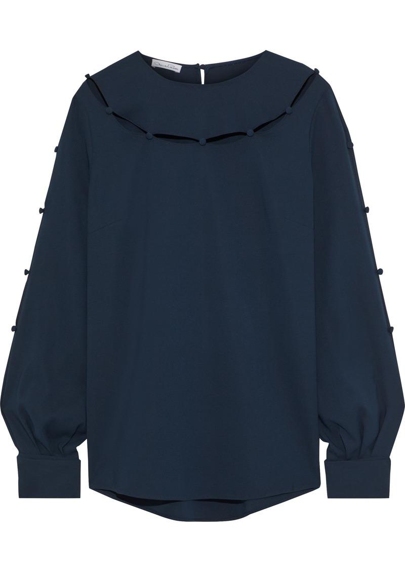 Oscar De La Renta Woman Cutout Button-embellished Stretch-silk Crepe Blouse Navy