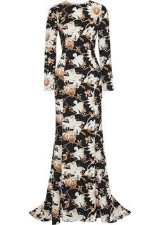 Oscar De La Renta Woman Cutout Floral-print Crepe Gown Black