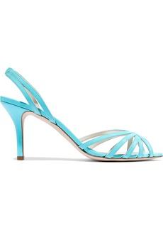 Oscar De La Renta Woman Cutout Patent-leather Slingback Sandals Turquoise