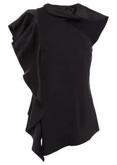 Oscar De La Renta Woman Cutout Ruffled Satin-crepe And Stretch-jersey Top Black