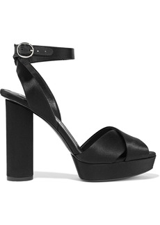 Oscar De La Renta Woman Dasha Satin Platform Sandals Black