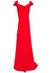 Oscar De La Renta Woman Draped Crepe Gown Tomato Red
