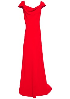 Oscar De La Renta Woman Draped Crepe Gown Tomato Red