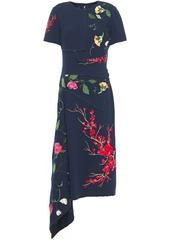 Oscar De La Renta Woman Draped Embroidered Wool-blend Crepe Midi Dress Midnight Blue