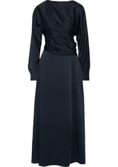 Oscar De La Renta Woman Draped Satin-crepe Maxi Dress Navy