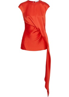 Oscar De La Renta Woman Draped Satin Top Tomato Red