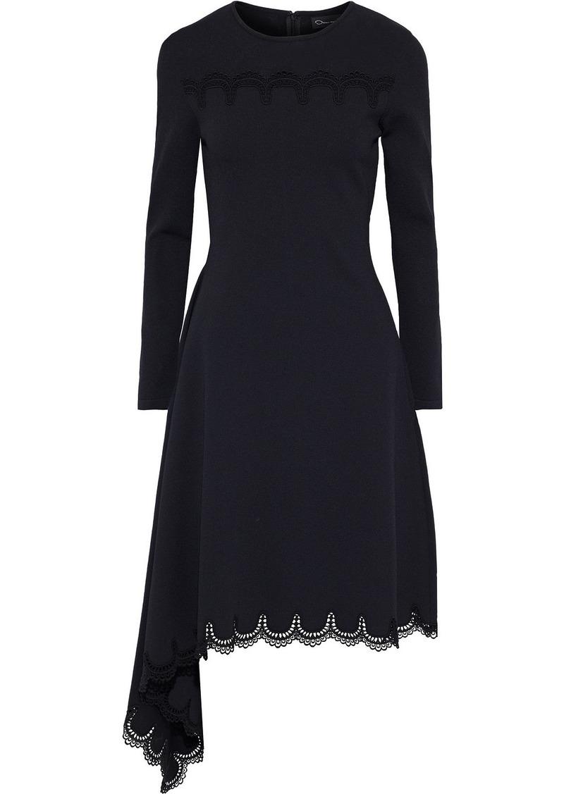 Oscar De La Renta Woman Draped Scalloped Lace-trimmed Ponte Dress Black