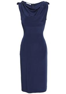 Oscar De La Renta Woman Draped Silk-crepe Dress Navy