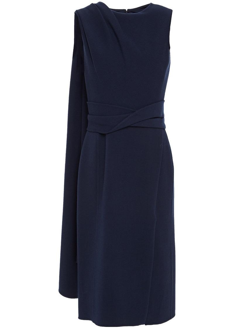 Oscar De La Renta Woman Draped Wool-blend Crepe Midi Dress Navy