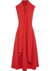 Oscar De La Renta Woman Draped Wool-blend Crepe Midi Dress Red