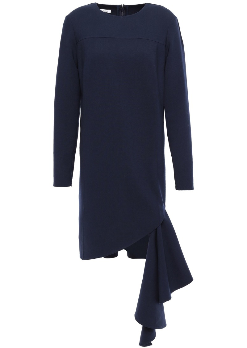 Oscar De La Renta Woman Draped Wool-blend Crepe Mini Dress Navy