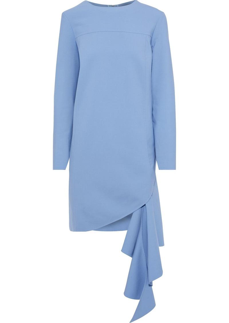 Oscar De La Renta Woman Draped Wool-blend Crepe Mini Dress Light Blue