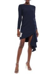 Oscar De La Renta Woman Draped Wool-blend Crepe Mini Dress Navy