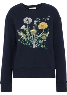 Oscar De La Renta Woman Embellished Cotton-fleece Sweatshirt Navy