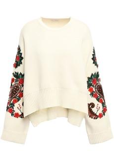 Oscar De La Renta Woman Embellished Cotton Sweater Cream