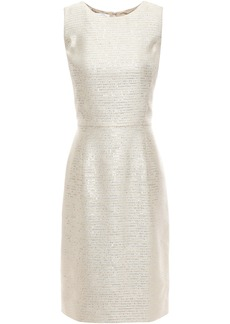Oscar De La Renta Woman Embellished Embroidered Lamé Dress Platinum