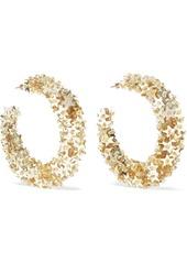 Oscar De La Renta Woman Embellished Gold-tone Cord Hoop Earrings Gold