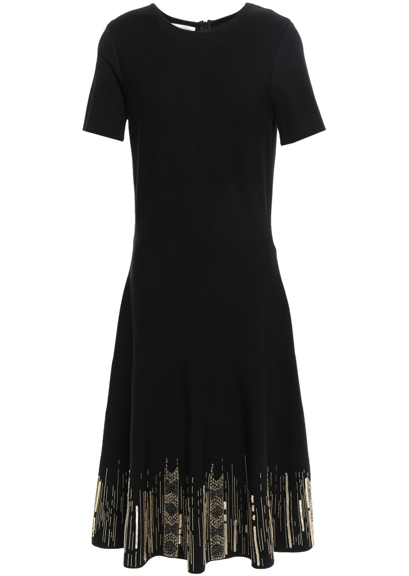 Oscar De La Renta Woman Embellished Knitted Dress Black
