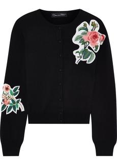Oscar De La Renta Woman Embellished Merino Wool Cardigan Black