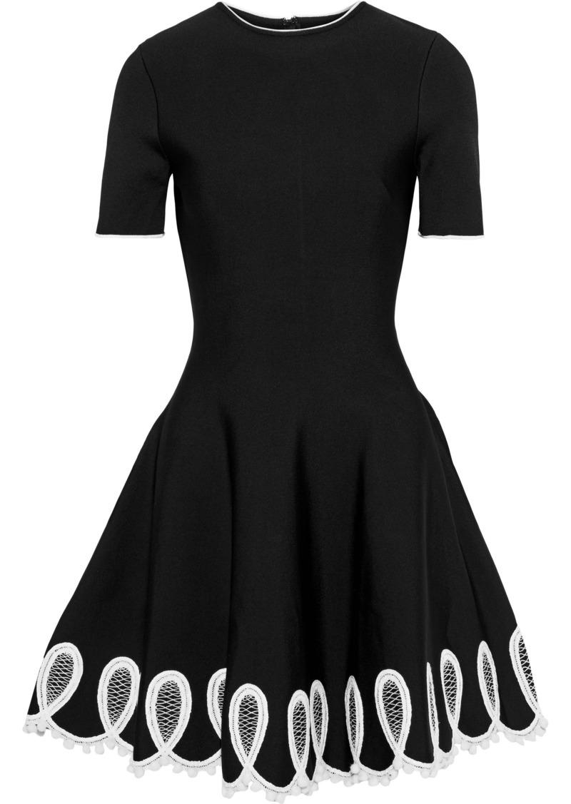 Oscar De La Renta Woman Embellished Ponte Mini Dress Black