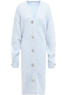 Oscar De La Renta Woman Embellished Ribbed Merino Wool-blend Cardigan Sky Blue