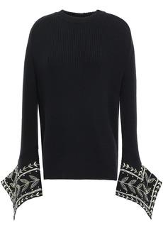 Oscar De La Renta Woman Embellished Ribbed Merino Wool Sweater Black