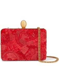 Oscar De La Renta Woman Embellished Silk Clutch Red
