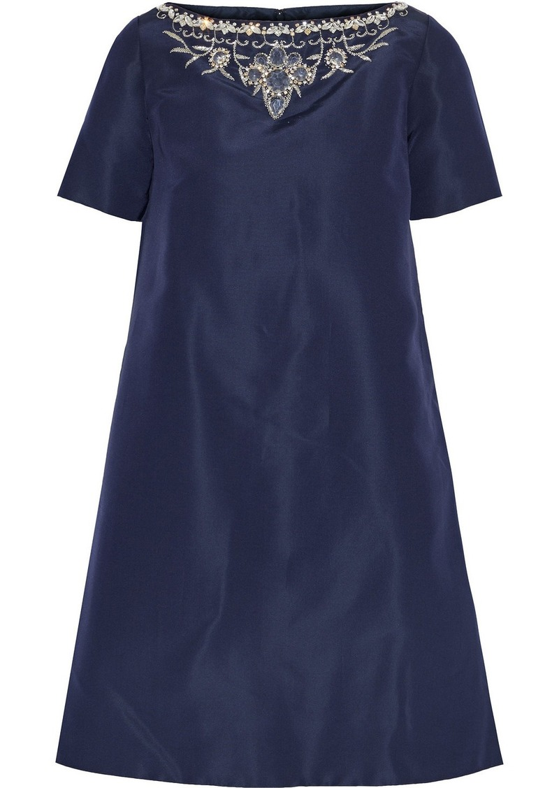 Oscar De La Renta Woman Embellished Silk-faille Mini Dress Indigo