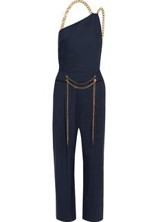 Oscar De La Renta Woman Embellished Wool-blend Twill Jumpsuit Navy