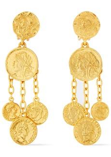 Oscar De La Renta Woman Embossed Gold-tone Clip Earrings Gold