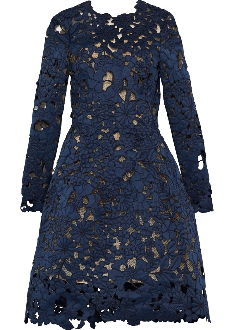 Oscar De La Renta Woman Embroidered Laser-cut Satin Dress Navy