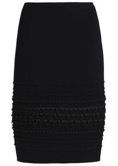 Oscar De La Renta Woman Embroidered Stretch-wool Crepe Pencil Skirt Black