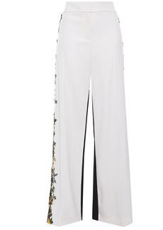 Oscar De La Renta Woman Embroidered Two-tone Wool-blend Wide-leg Pants Ivory