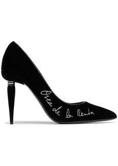 Oscar De La Renta Woman Embroidered Velvet Pumps Black