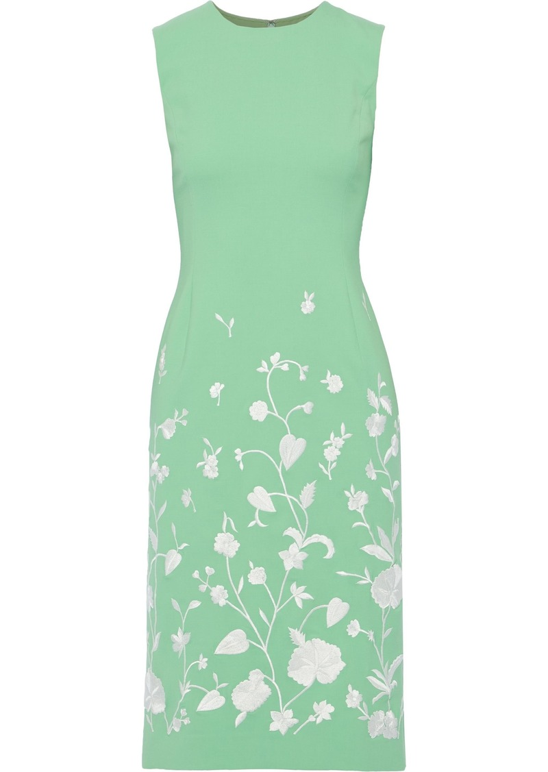 Oscar De La Renta Woman Embroidered Wool-blend Dress Bright Green
