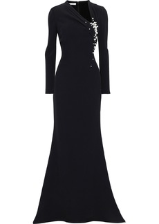 Oscar De La Renta Woman Faux Pearl And Bead-embellished Crepe Gown Black