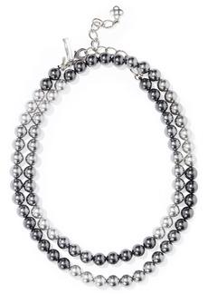 Oscar De La Renta Woman Faux Pearl Necklace Gunmetal