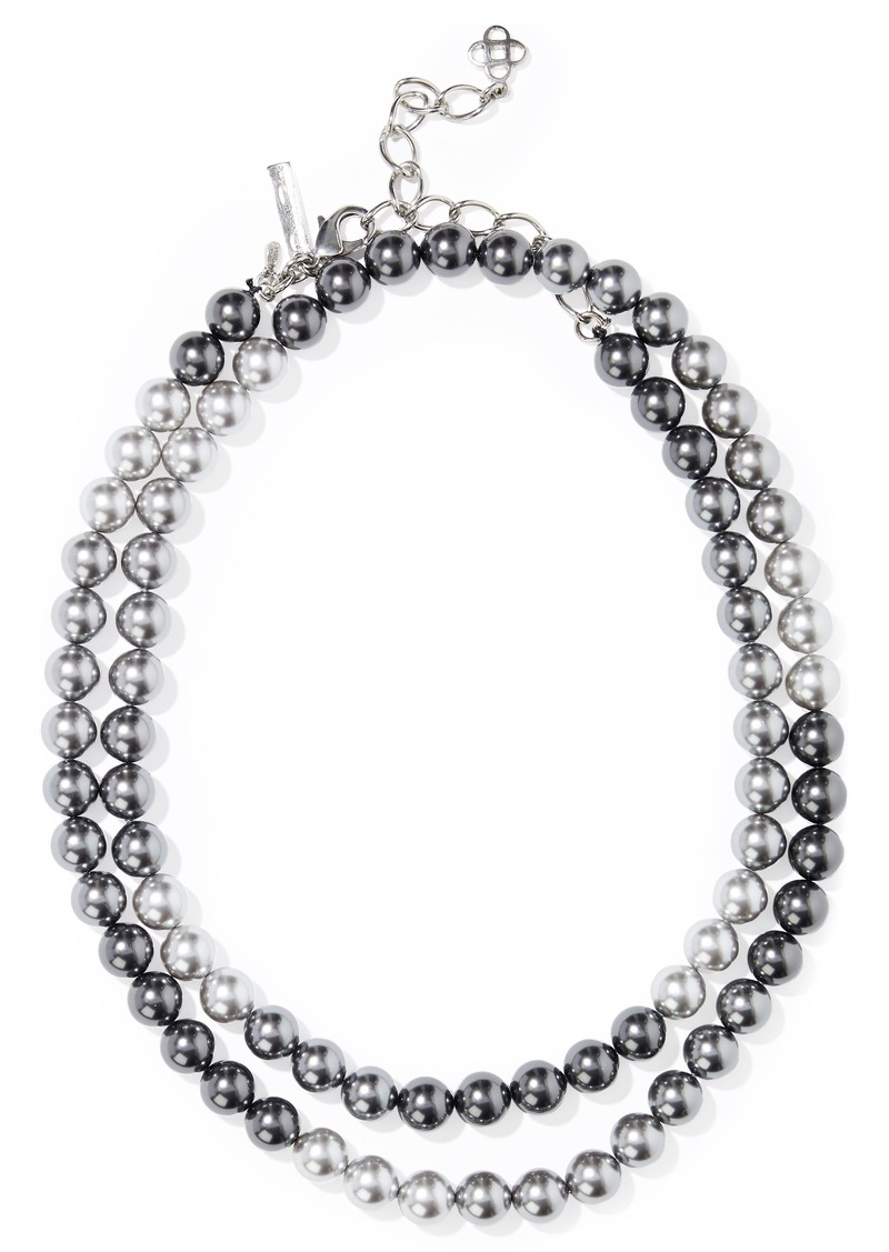 Oscar De La Renta Woman Faux Pearl Necklace Gunmetal