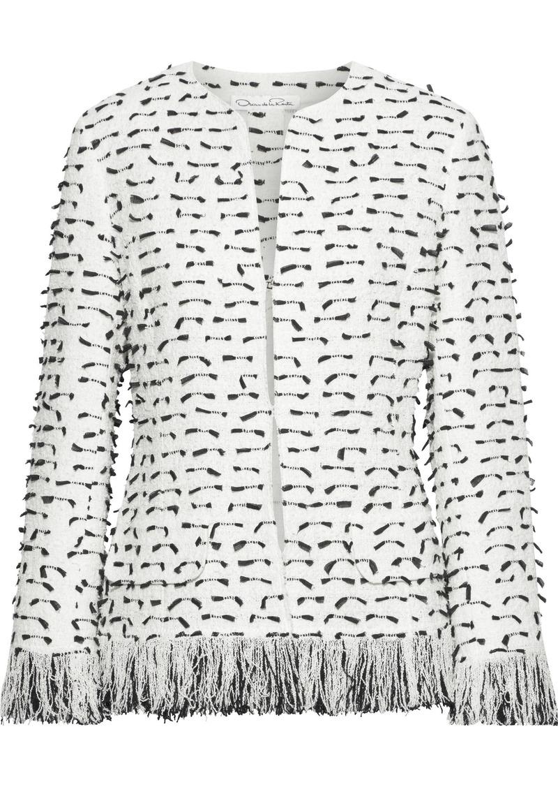 Oscar De La Renta Woman Fil Coupé Cotton-blend Bouclé Jacket White