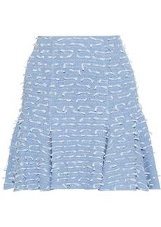 Oscar De La Renta Woman Fil Coupé Cotton-blend Bouclé Mini Skirt Light Blue
