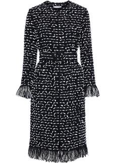 Oscar De La Renta Woman Fil Coupé Cotton-blend Bouclé-tweed Coat Black